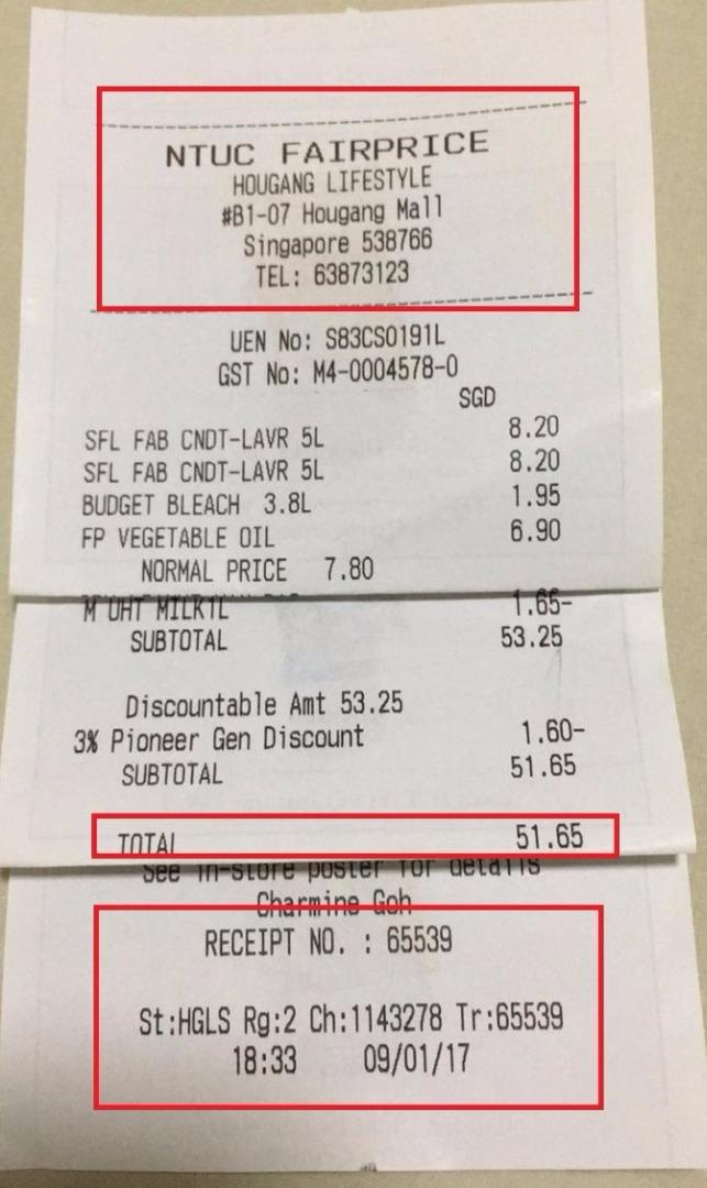 ntuc fairprice receipt number