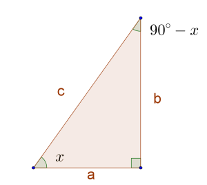 right angled triangle 90-x
